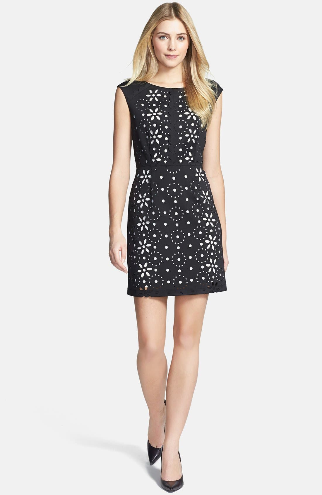 Alternate Image 2  - Betsey Johnson Cap Sleeve Laser Cut Scuba Dress