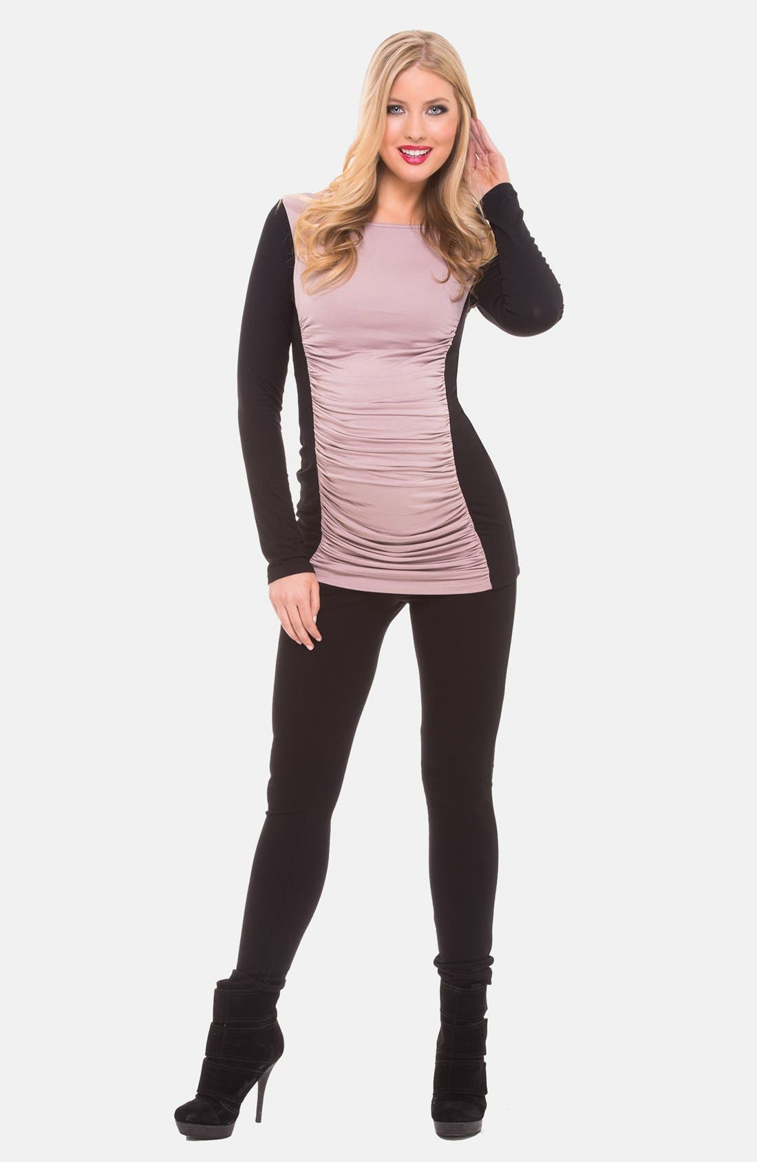 Alternate Image 1 Selected - Olian Ruched Colorblock Maternity Top