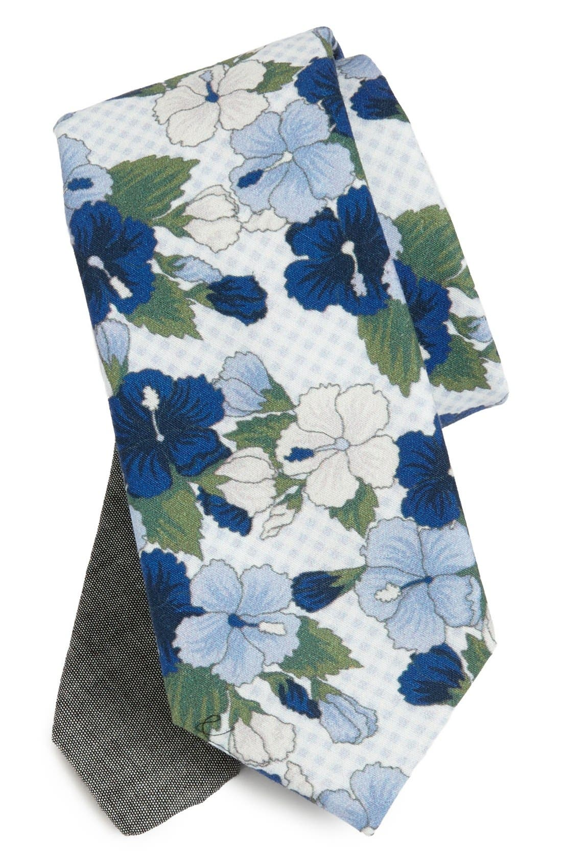 Main Image - EDIT by The Tie Bar Floral Cotton Tie (Nordstrom Exclusive)