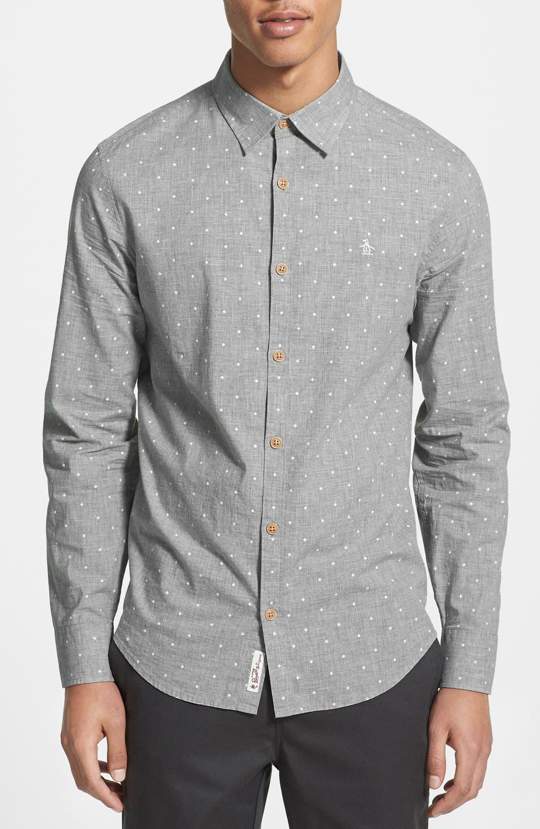Main Image - Original Penguin Heritage Fit Diamond Dot Print Woven Shirt