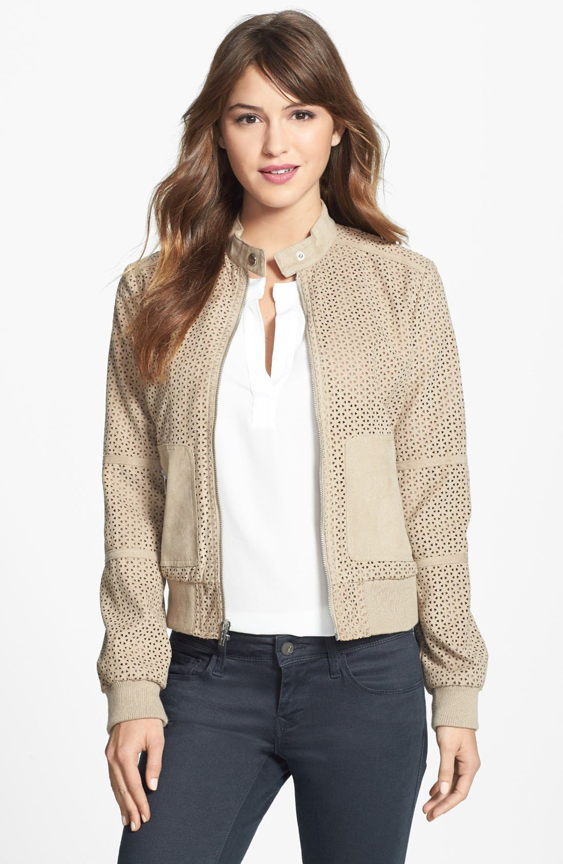 Alternate Image 1 Selected - Kenneth Cole New York Perforated Faux Suede Bomber Jacket (Regular & Petite)