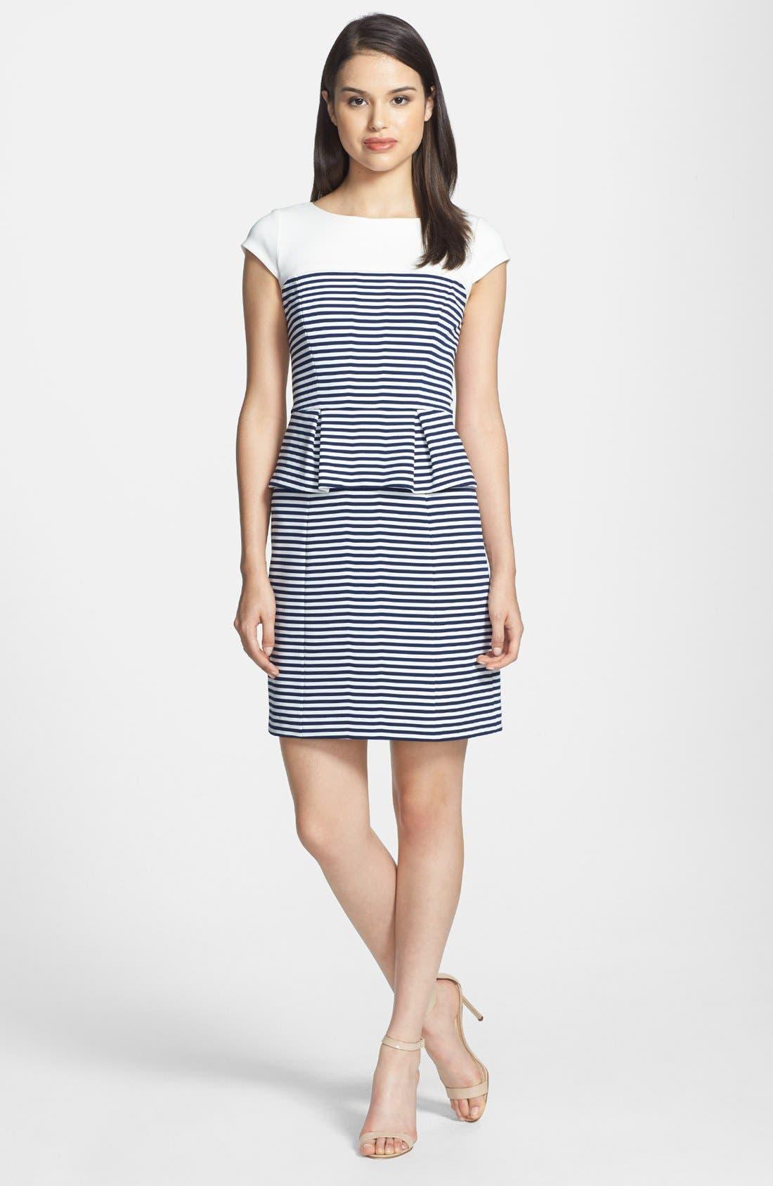 Alternate Image 2  - Ivy & Blu Stripe Ponte Knit Peplum Dress