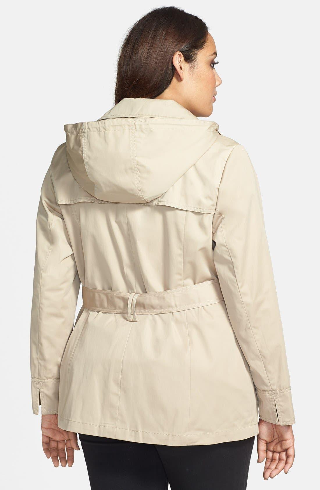 Alternate Image 2  - Ellen Tracy Belted Short Trench Coat (Plus Size) (Nordstrom Exclusive)
