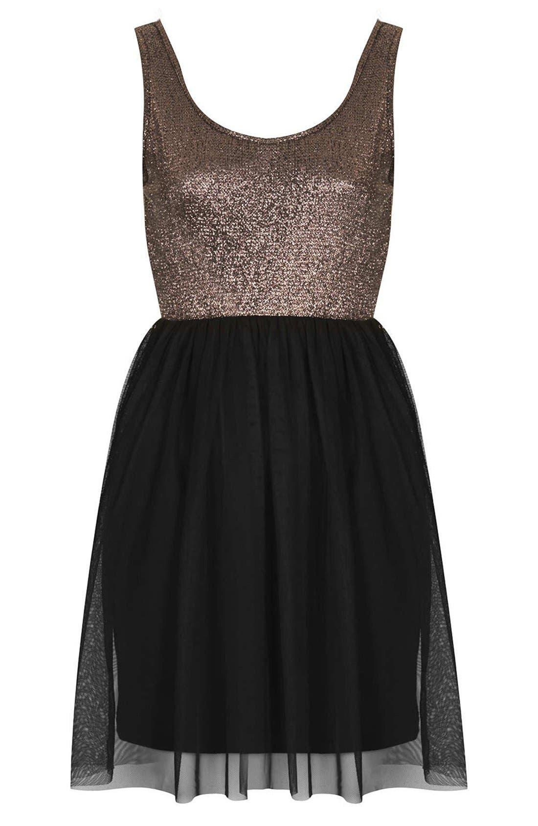 Alternate Image 3  - Topshop Metallic Bodice Jersey & Tulle Dress (Petite)