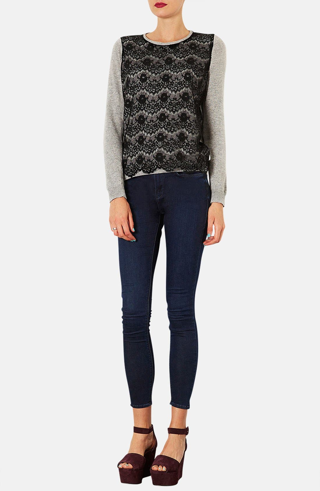 Alternate Image 4  - Topshop Moto 'Leigh' Skinny Jeans (Blue Black) (Regular & Long)
