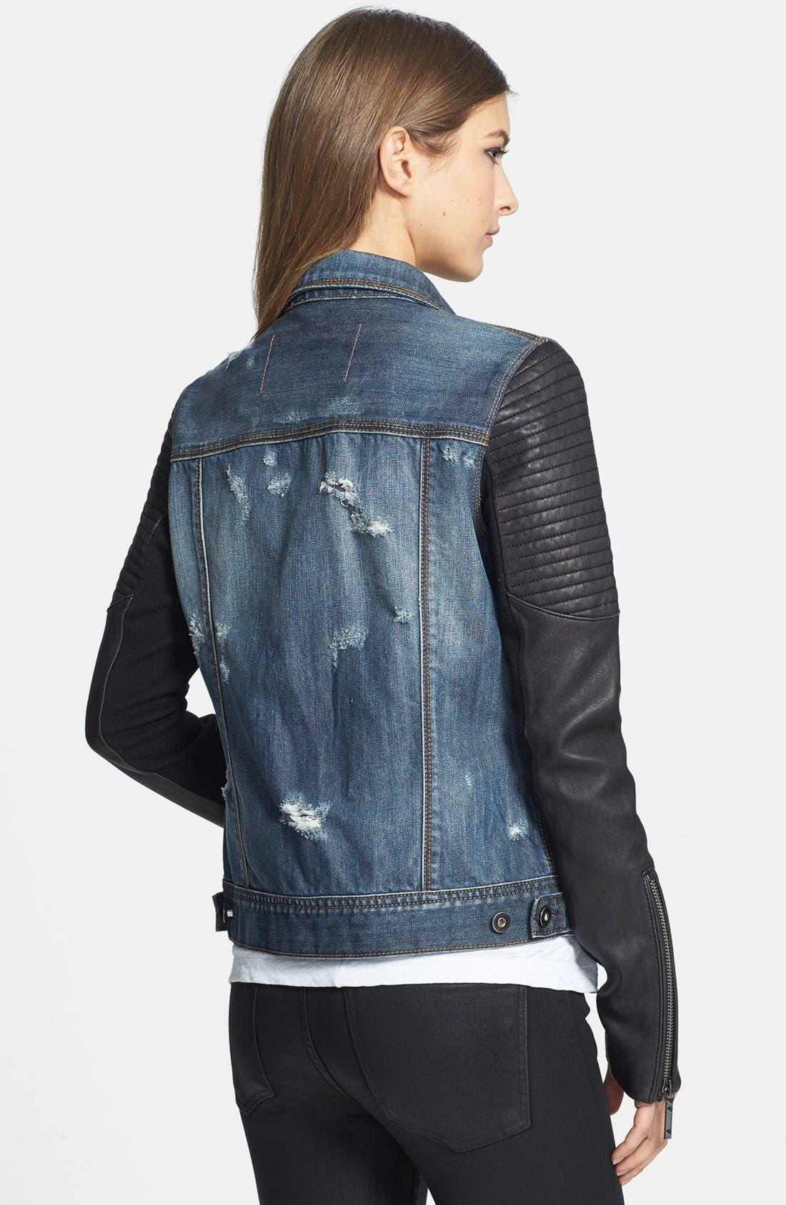 Alternate Image 2  - BCBGMAXAZRIA 'Nikki' Faux Leather Sleeve Denim Jacket