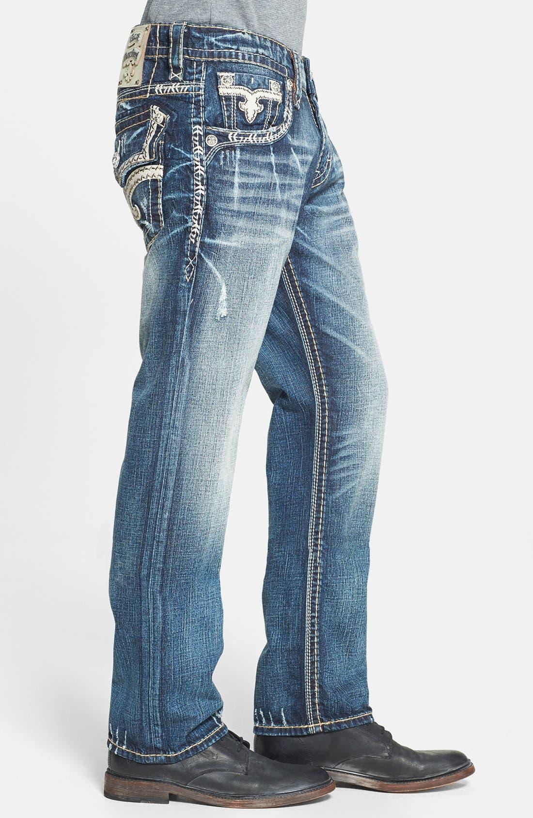 Alternate Image 3  - Rock Revival 'Teo' Straight Leg Jeans (Medium Blue)