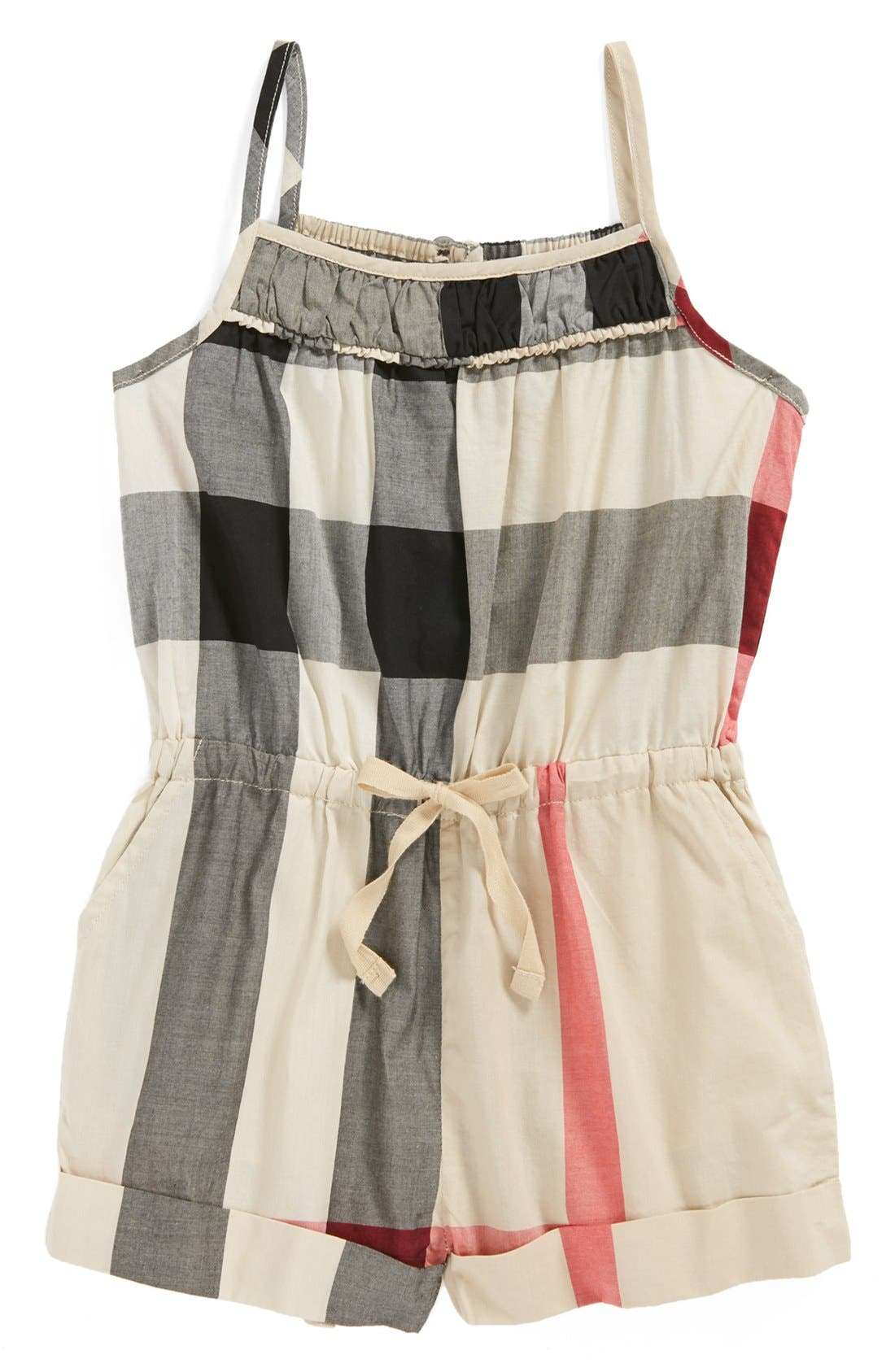 Alternate Image 1 Selected - Burberry Check Print Romper (Toddler Girls)
