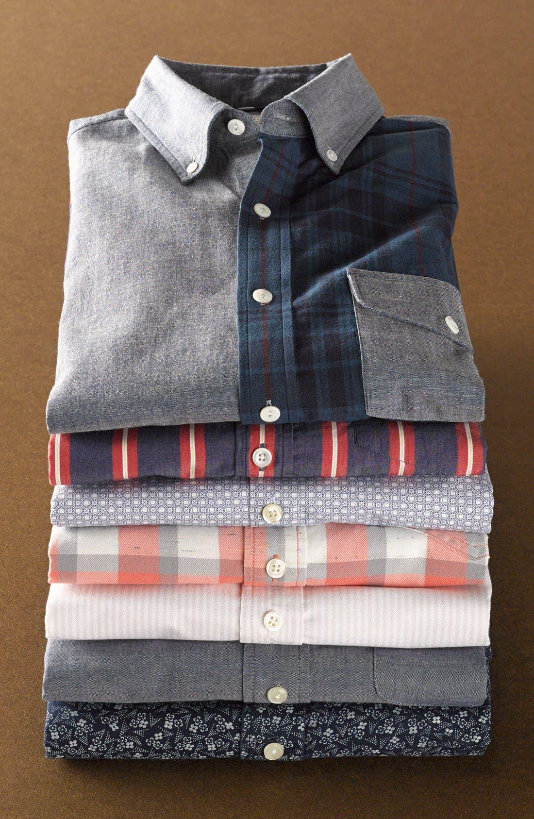 Alternate Image 7  - Grayers Trim Fit Selvedge Chambray Sport Shirt