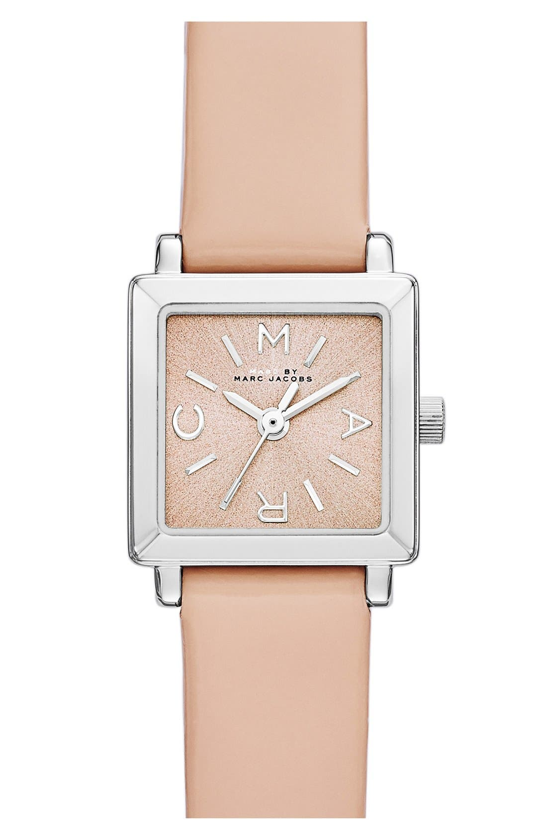 Main Image - MARC BY MARC JACOBS 'Katherine' Square Dial Leather Strap Watch, 19mm