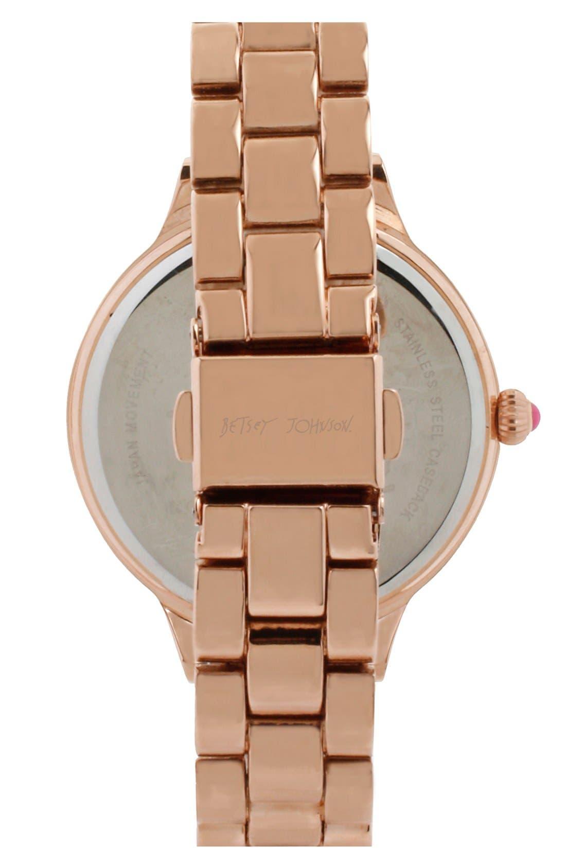 Alternate Image 2  - Betsey Johnson Floral Cutout Bracelet Watch, 38mm