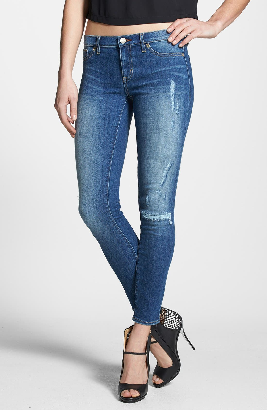 Main Image - Dittos 'Jessica' Distressed Low Rise Skinny Jeans (Calypso)