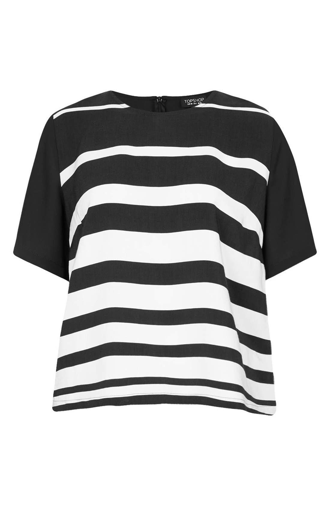 Alternate Image 3  - Topshop Variegated Stripe Front Tee