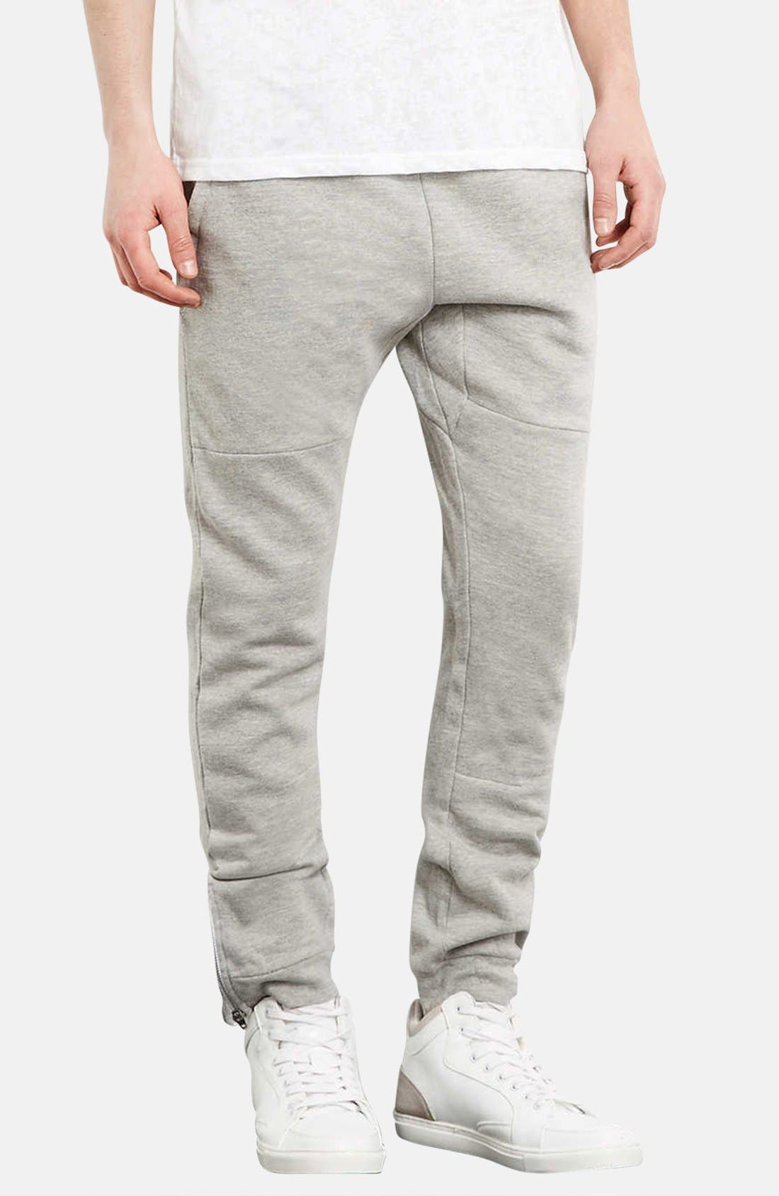 Main Image - Topman Skinny Fit Jogger Pants with Zip Hems