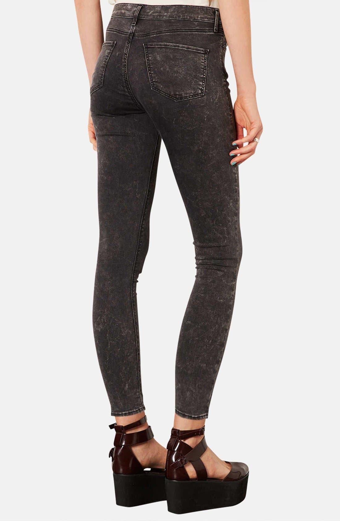 Alternate Image 2  - Topshop Moto 'Leigh' Mottled Skinny Jeans (Regular & Short)