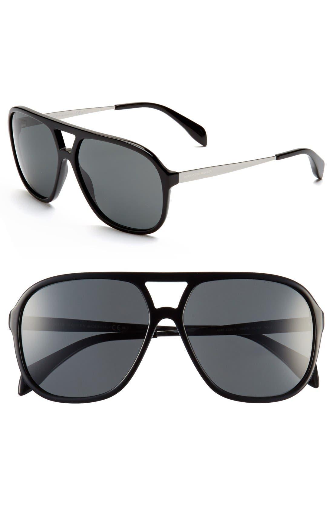 Alternate Image 1 Selected - Alexander McQueen 60mm Aviator Sunglasses