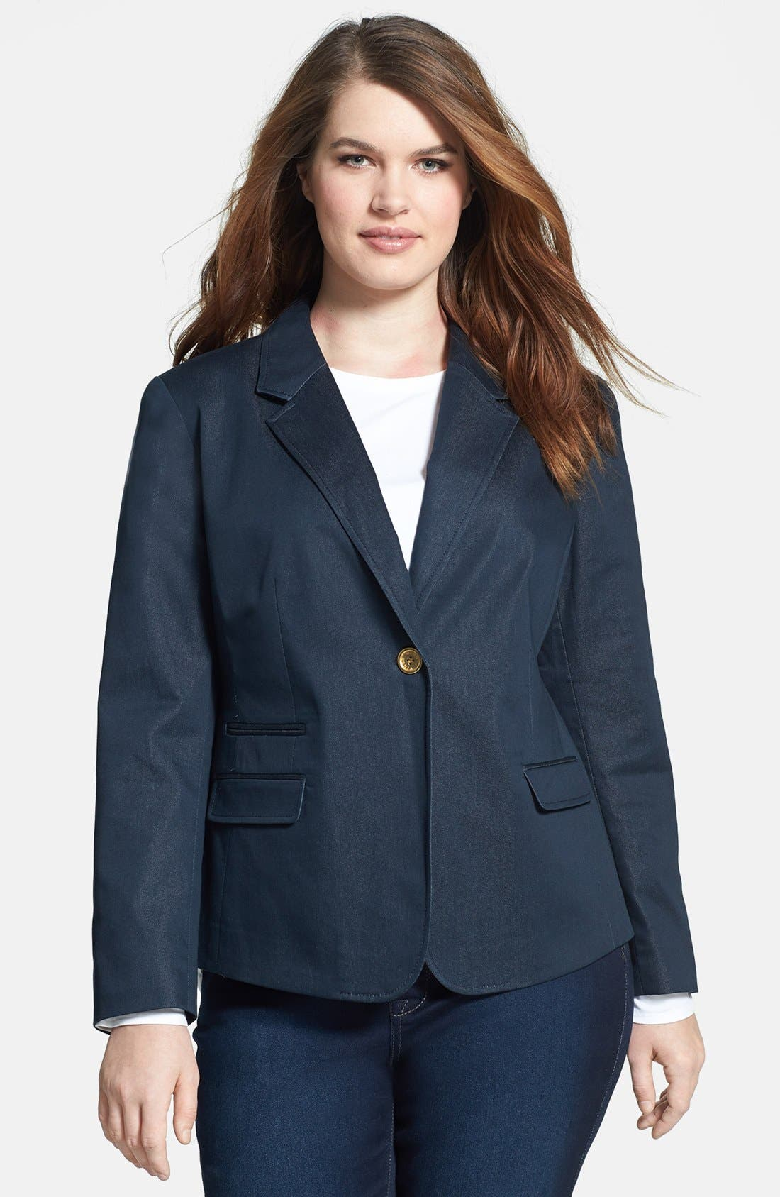 Alternate Image 1 Selected - Vince Camuto Single Button Blazer (Plus Size)