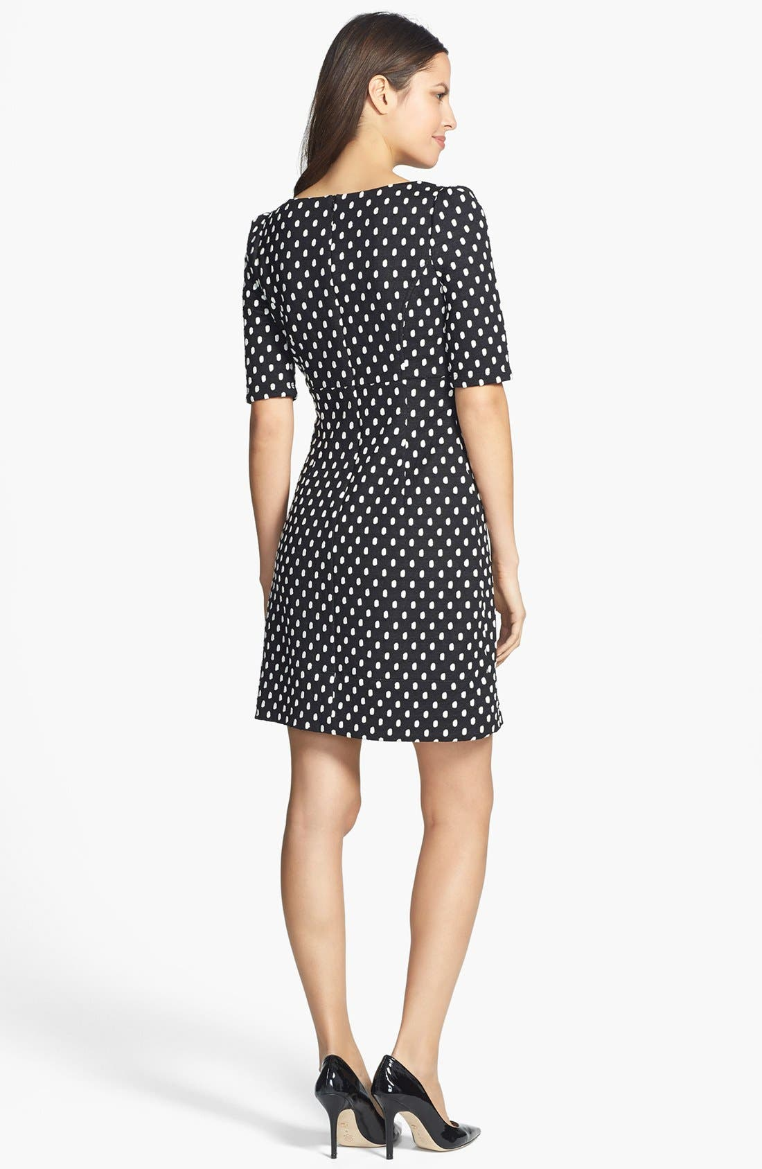 Alternate Image 2  - Donna Ricco Polka Dot Jacquard Dress (Petite)