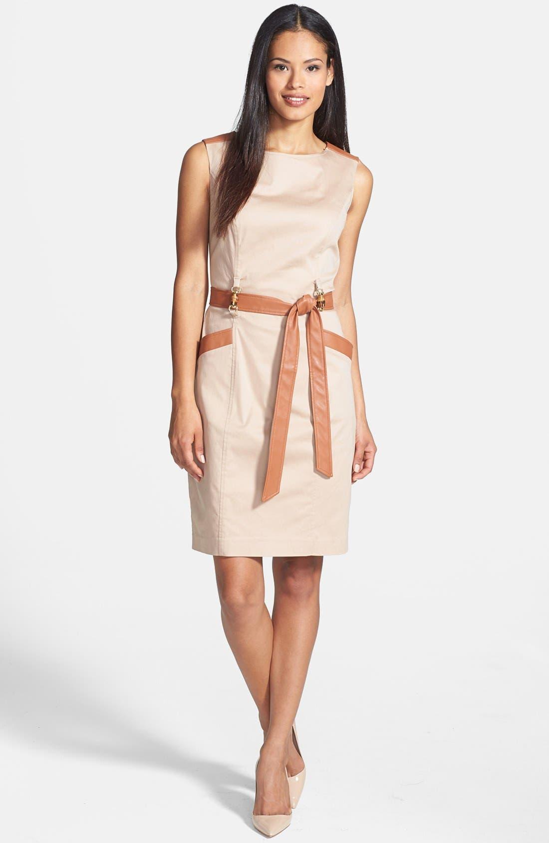 Alternate Image 3  - Ellen Tracy Faux Leather Trim Sleeveless Sheath Dress