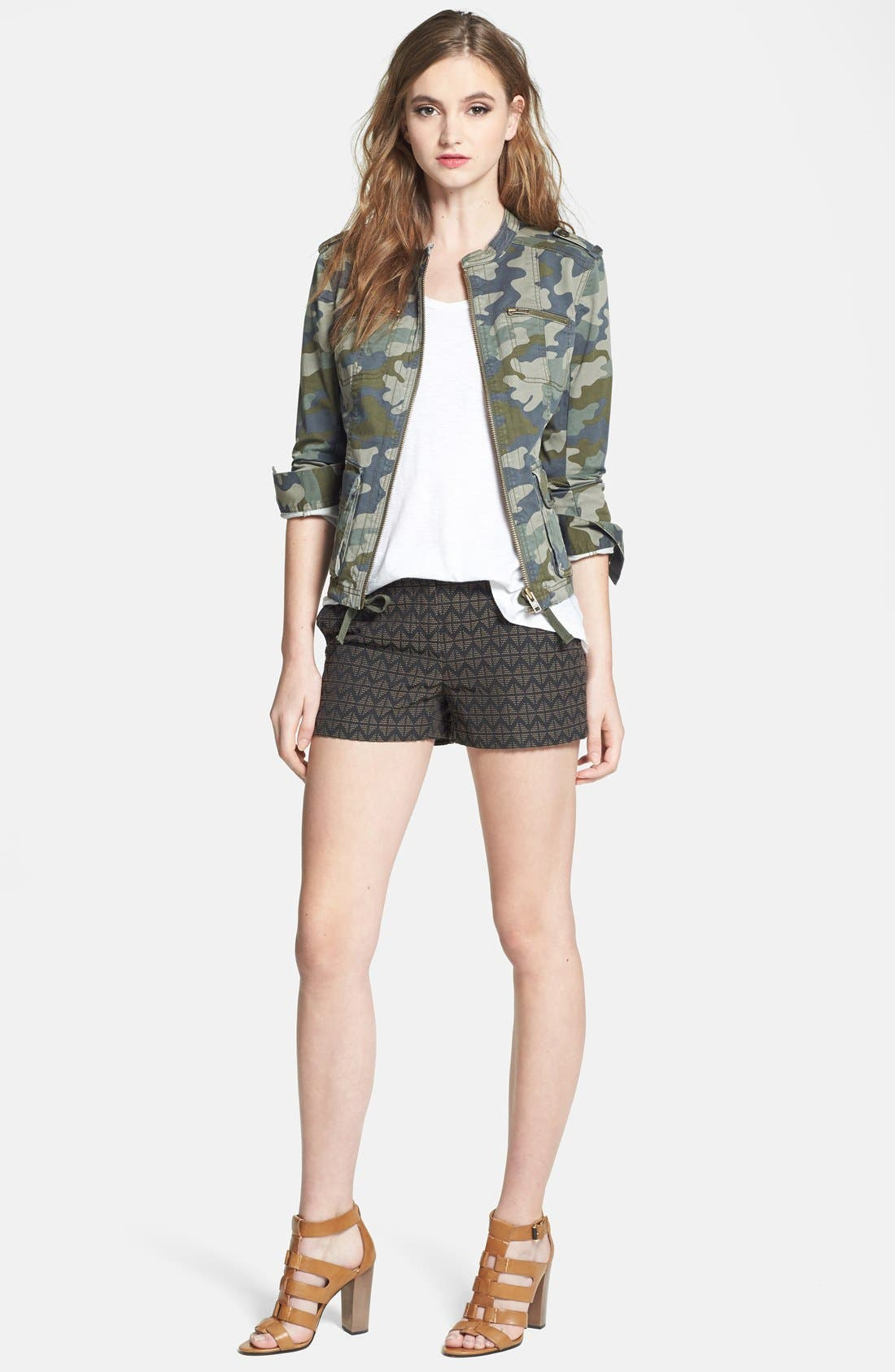Alternate Image 4  - Halogen® Stretch Cotton Twill Military Jacket (Regular & Petite)