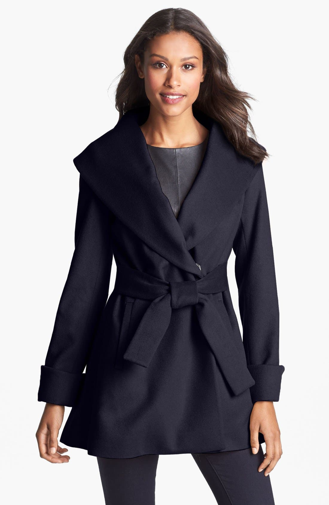 Main Image - Trina Turk Belted Wrap Coat (Regular & Petite)