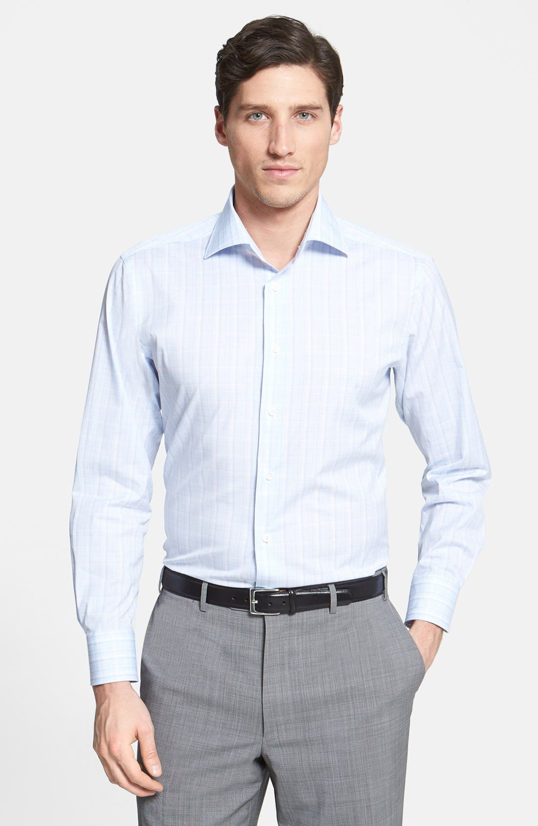 Alternate Image 3  - Canali Poplin Graph Check Regular Fit Dress Shirt