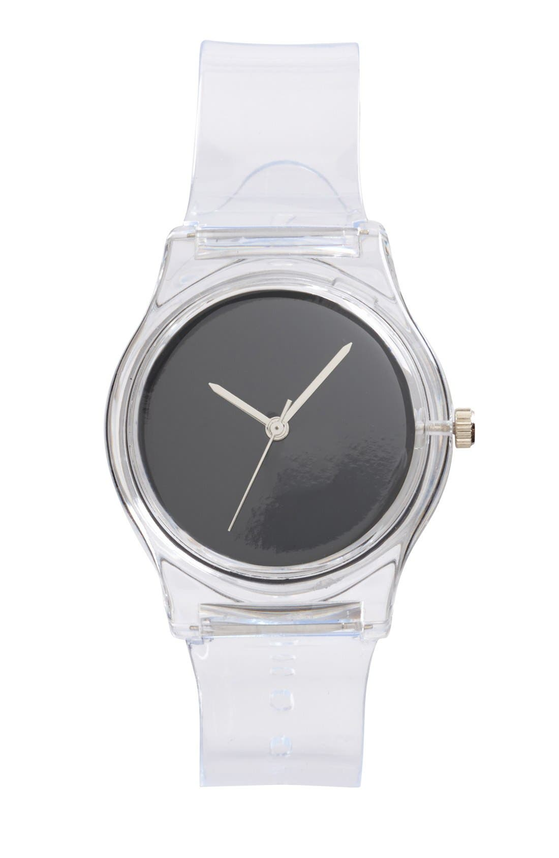 Main Image - MAY28TH Round Dial Transparent Strap Watch, 25mm