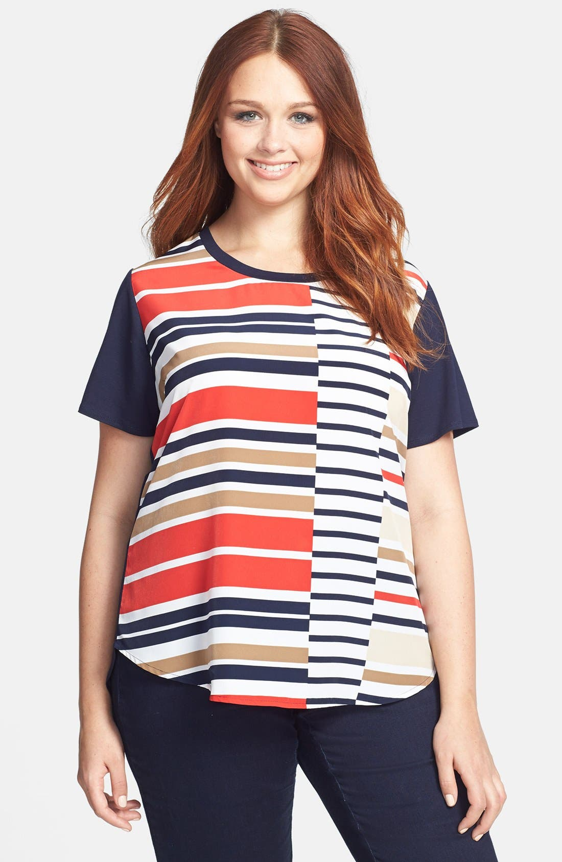 Alternate Image 1 Selected - Vince Camuto 'Legacy' Mixed Media Tee (Plus Size)