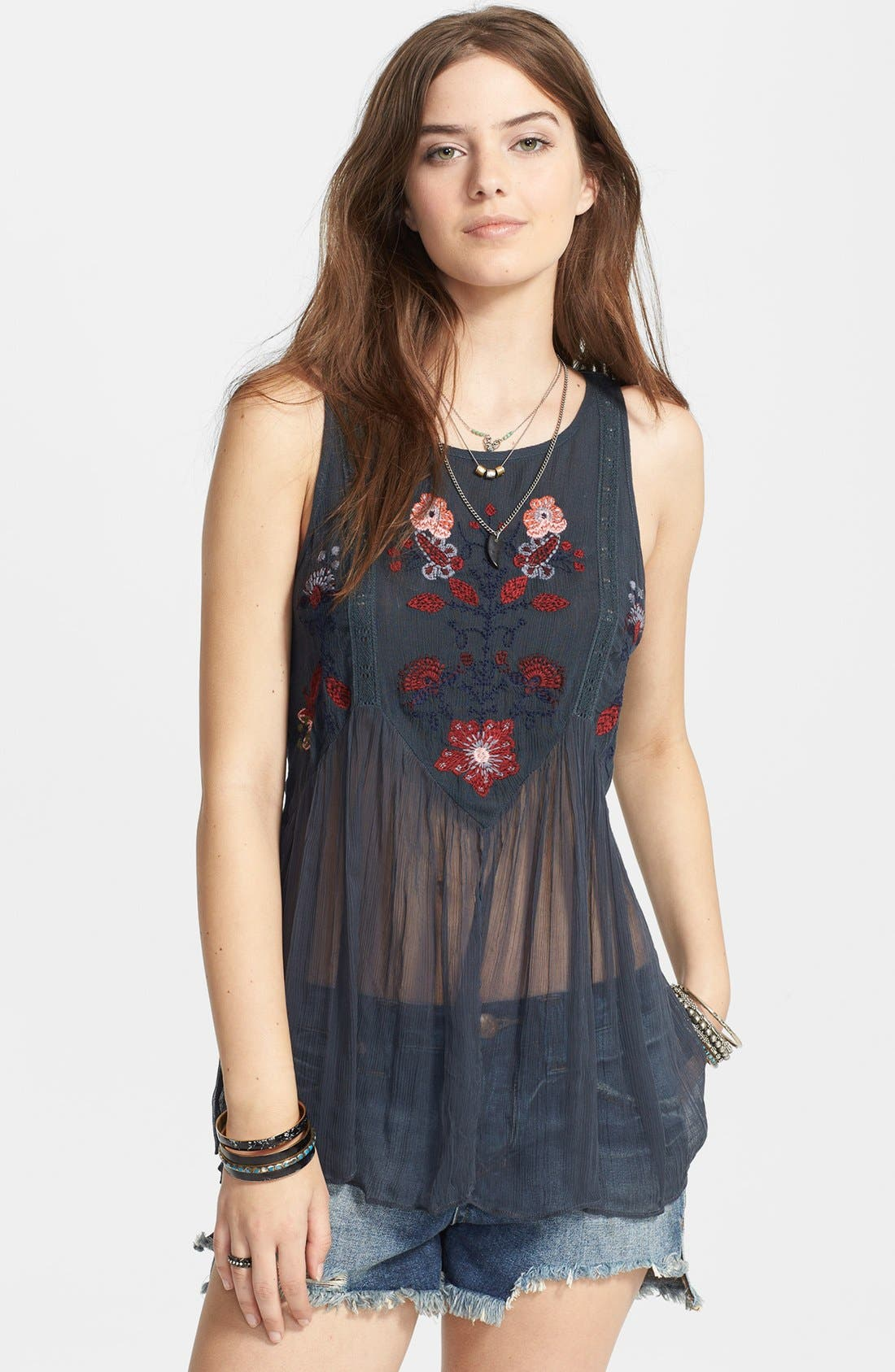 Main Image - Free People 'In the Free World' Embroidered Top