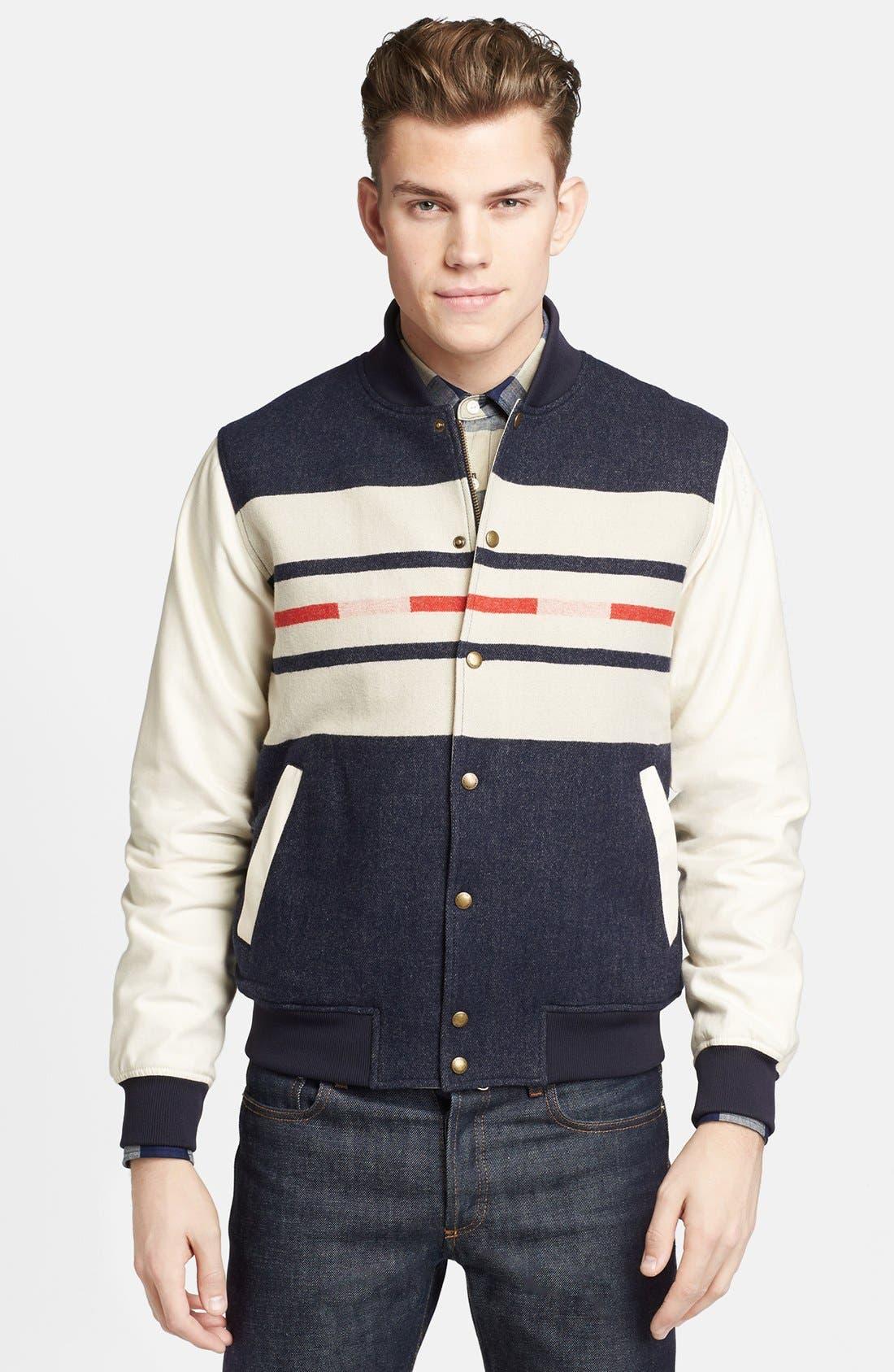 Main Image - Pendleton Portland Collection 'Franklin' Camp Stripe Varsity Jacket