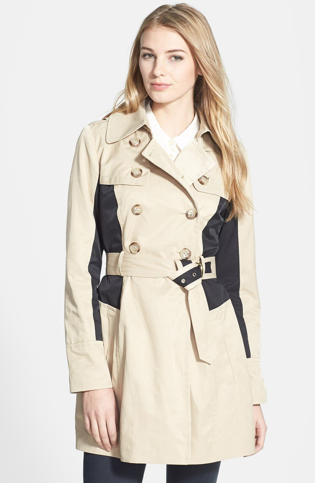 Alternate Image 1 Selected - GUESS Colorblock Double Breasted Trench Coat