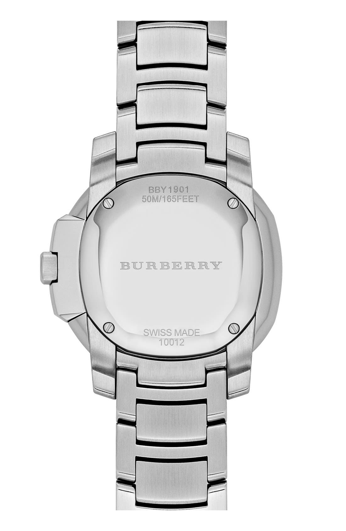 Alternate Image 2  - Burberry The Britain Mother-of-Pearl Bracelet Watch, 26mm