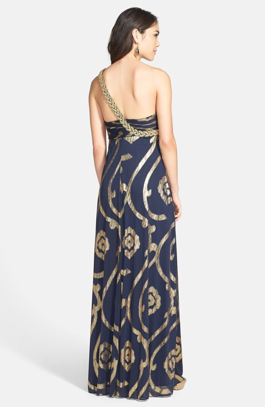 Alternate Image 2  - Betsy & Adam Foil Print Off-Shoulder Gown