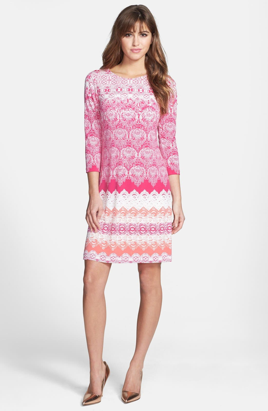 Main Image - Donna Morgan Lace Print Shift Dress