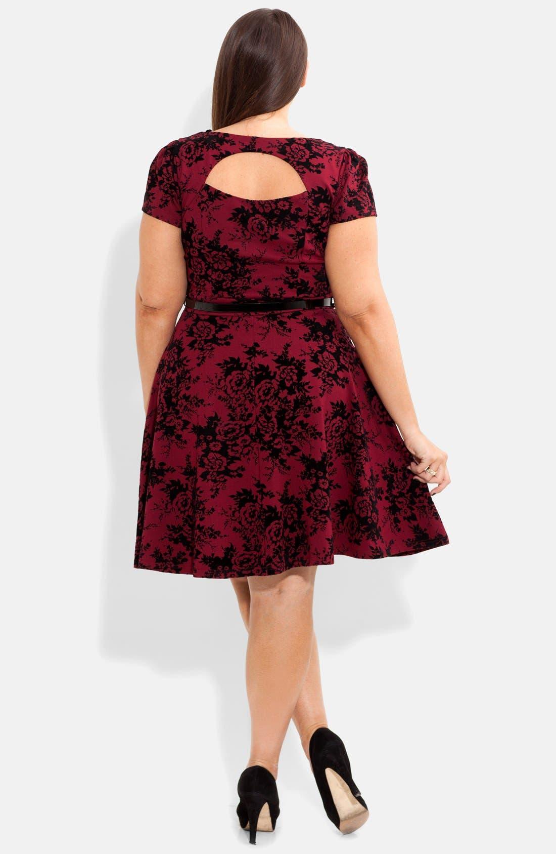 Alternate Image 2  - City Chic Floral Print Skater Dress (Plus Size)