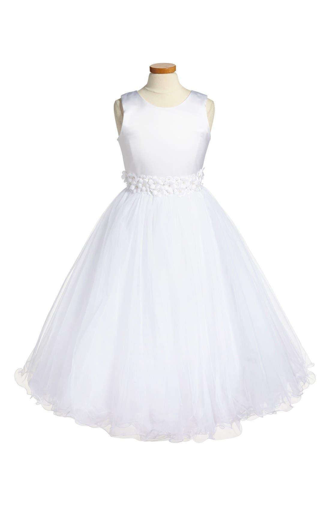 Main Image - Joan Calabrese for Mon Cheri Sleeveless First Communion Dress (Little Girls & Big Girls)