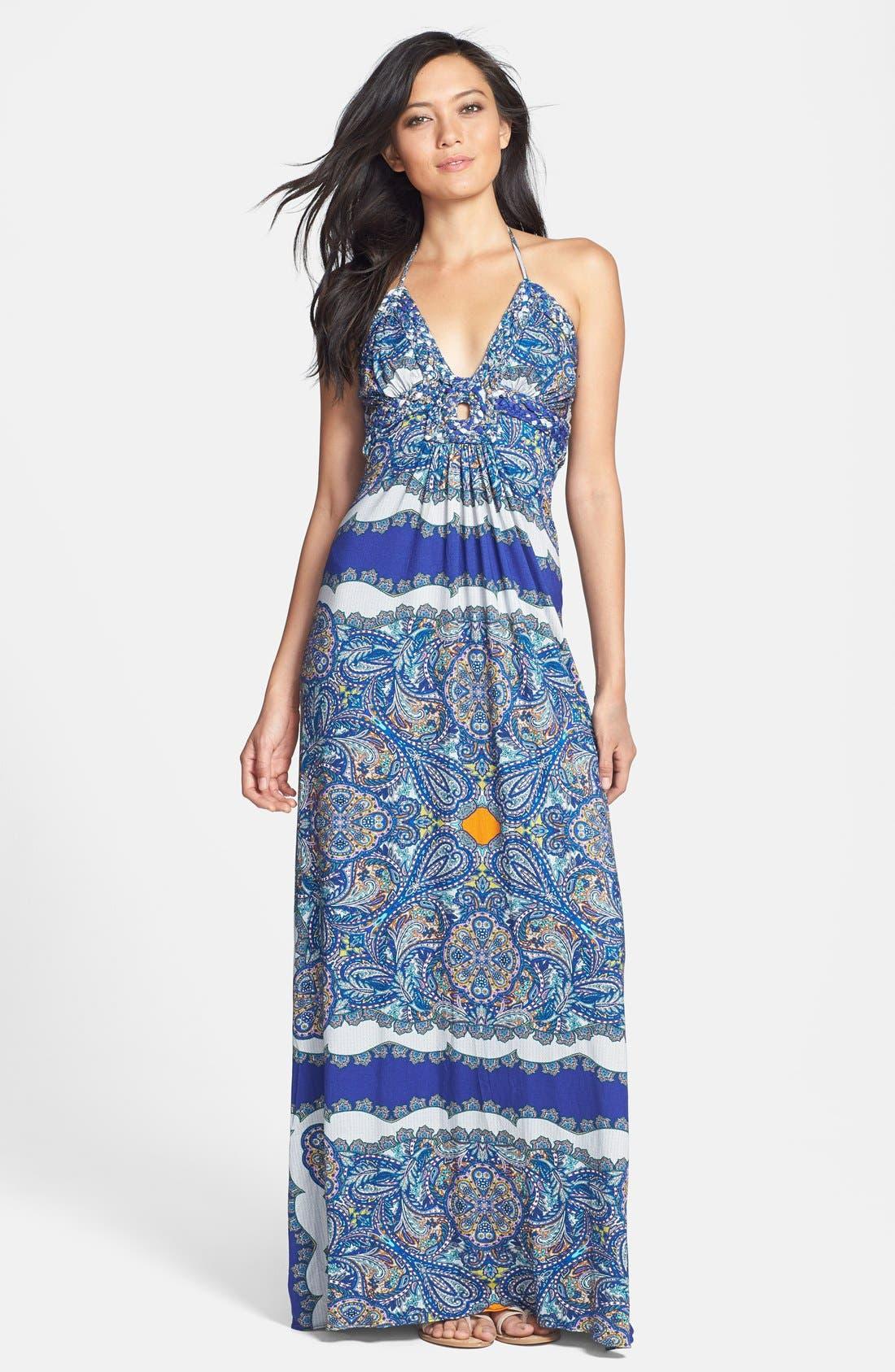 Main Image - Sky 'Samuelaa' Print Halter Maxi Dress