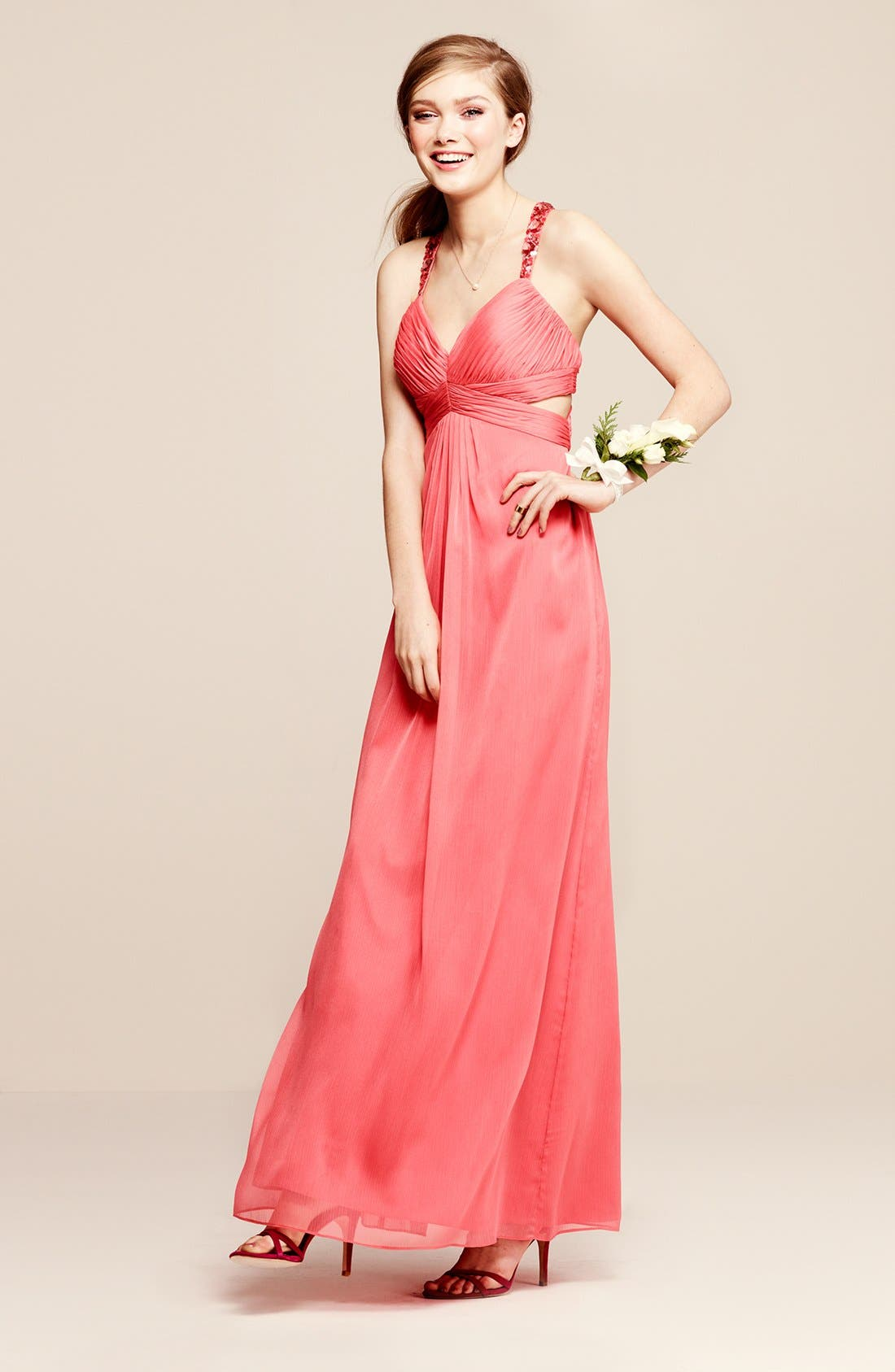 Alternate Image 4  - Aidan by Aidan Mattox Embellished Cutout Crinkled Chiffon Gown