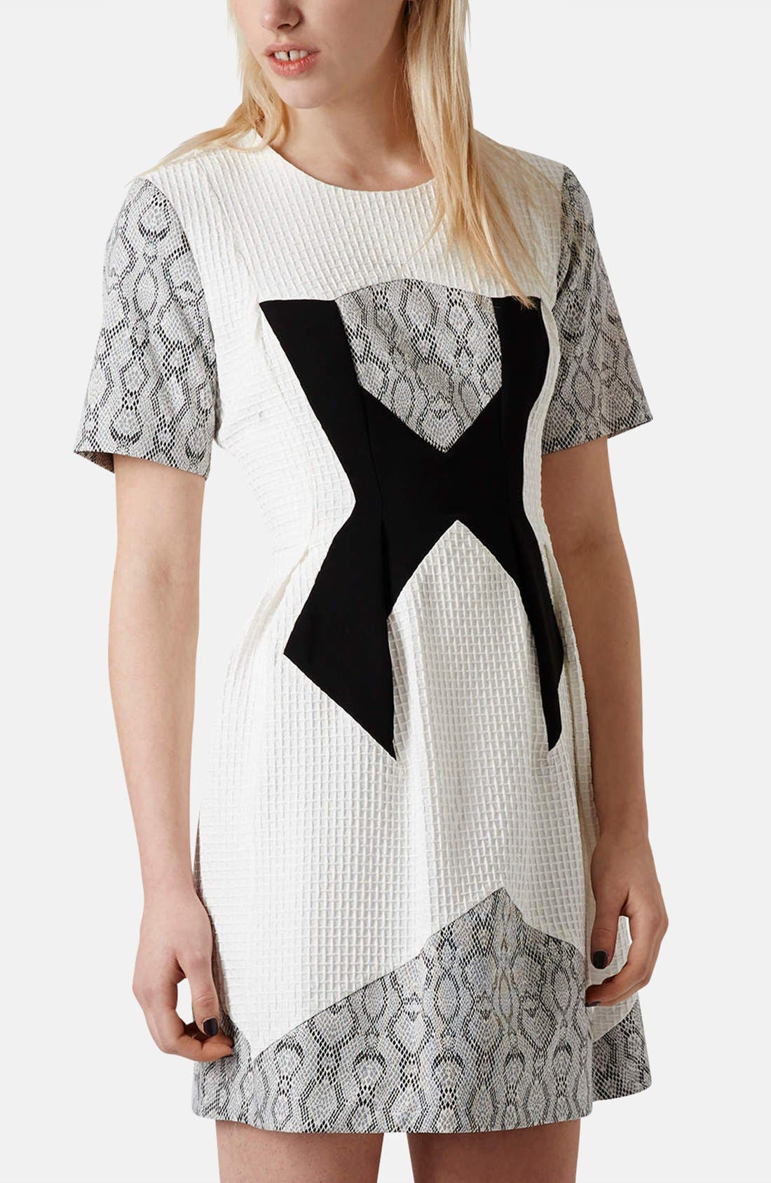Main Image - Topshop Mixed Media Fit & Flare Dress