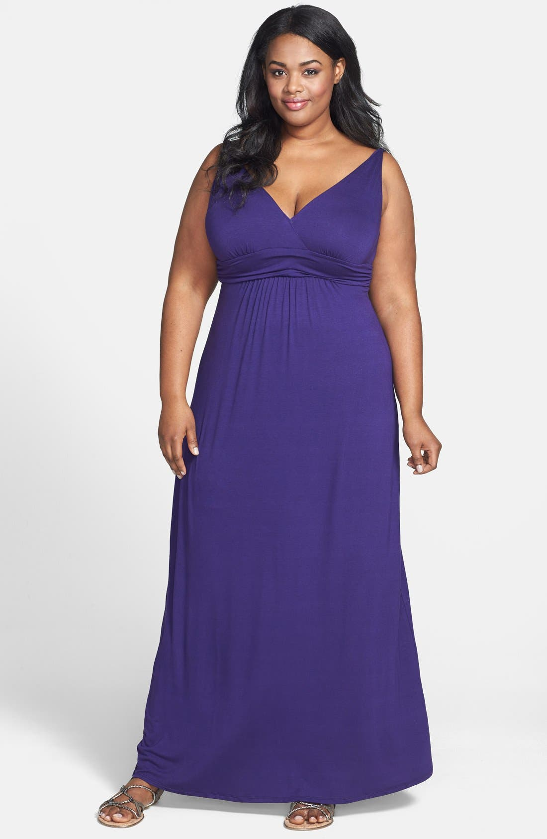 Main Image - Loveappella Solid Maxi Dress (Plus Size)