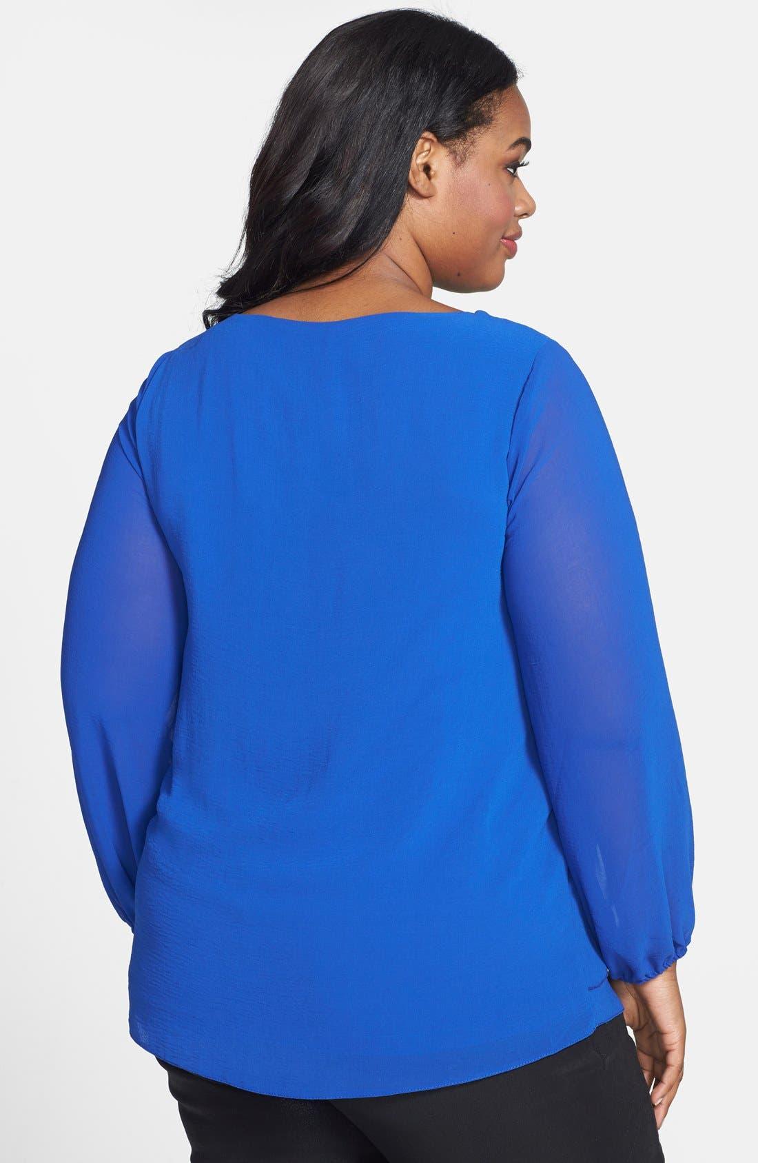 Alternate Image 2  - Evans Drape Front Top (Plus Size)