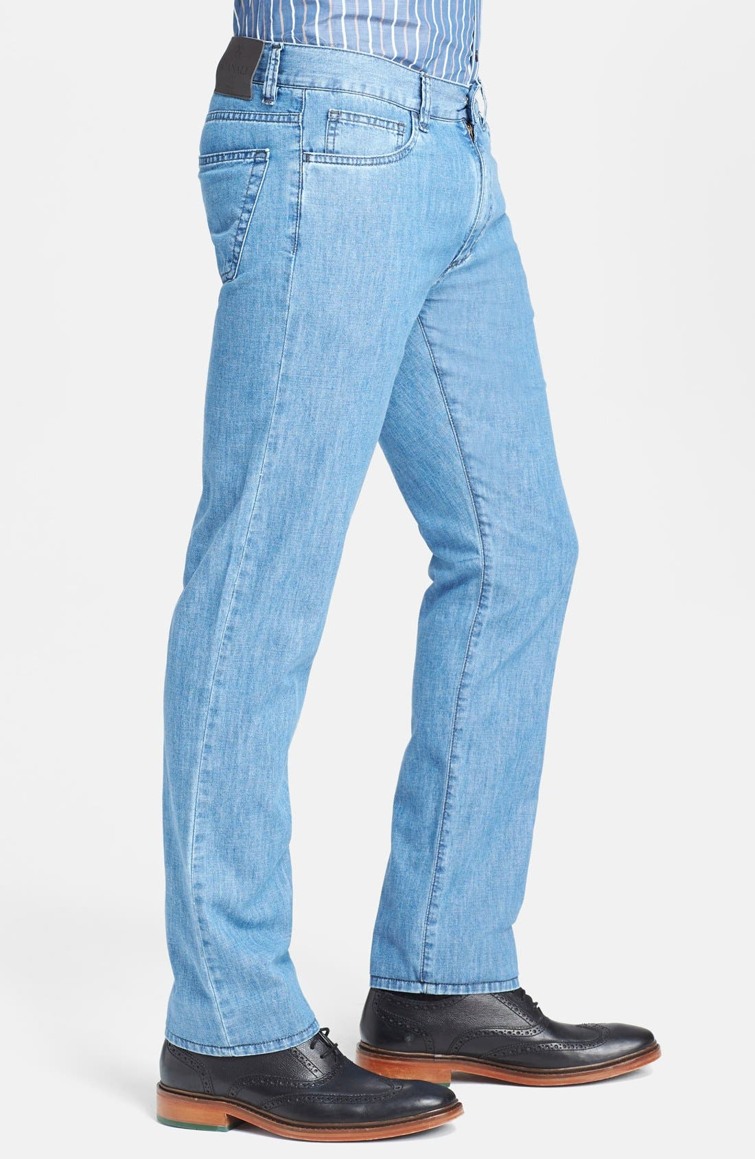 Alternate Image 4  - Canali Regular Fit Italian Jeans (Blue)