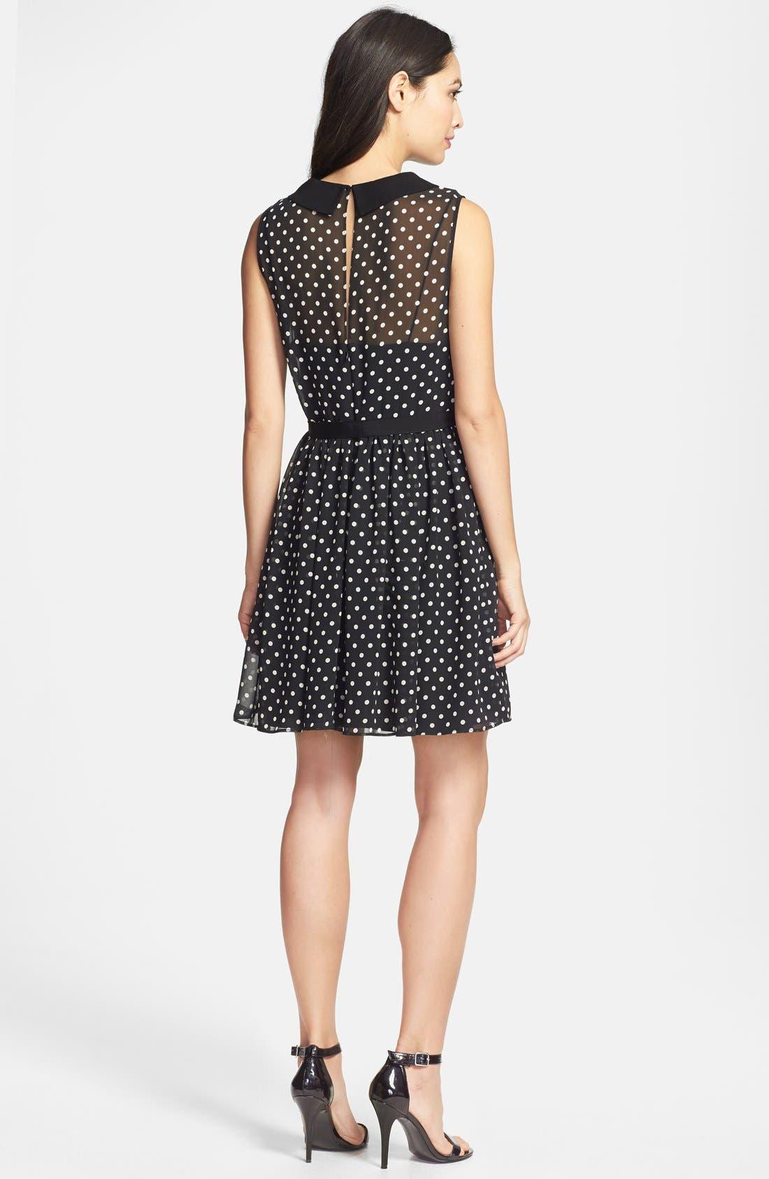 Alternate Image 2  - Betsey Johnson Peter Pan Collar Dot Fit & Flare Dress