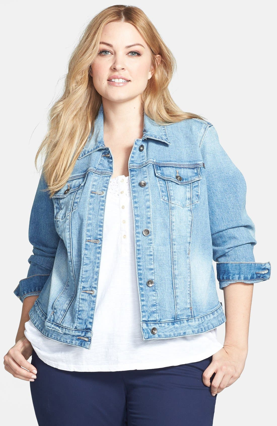 Alternate Image 1 Selected - Lucky Brand 'Dixie' Denim Jacket (Plus Size)