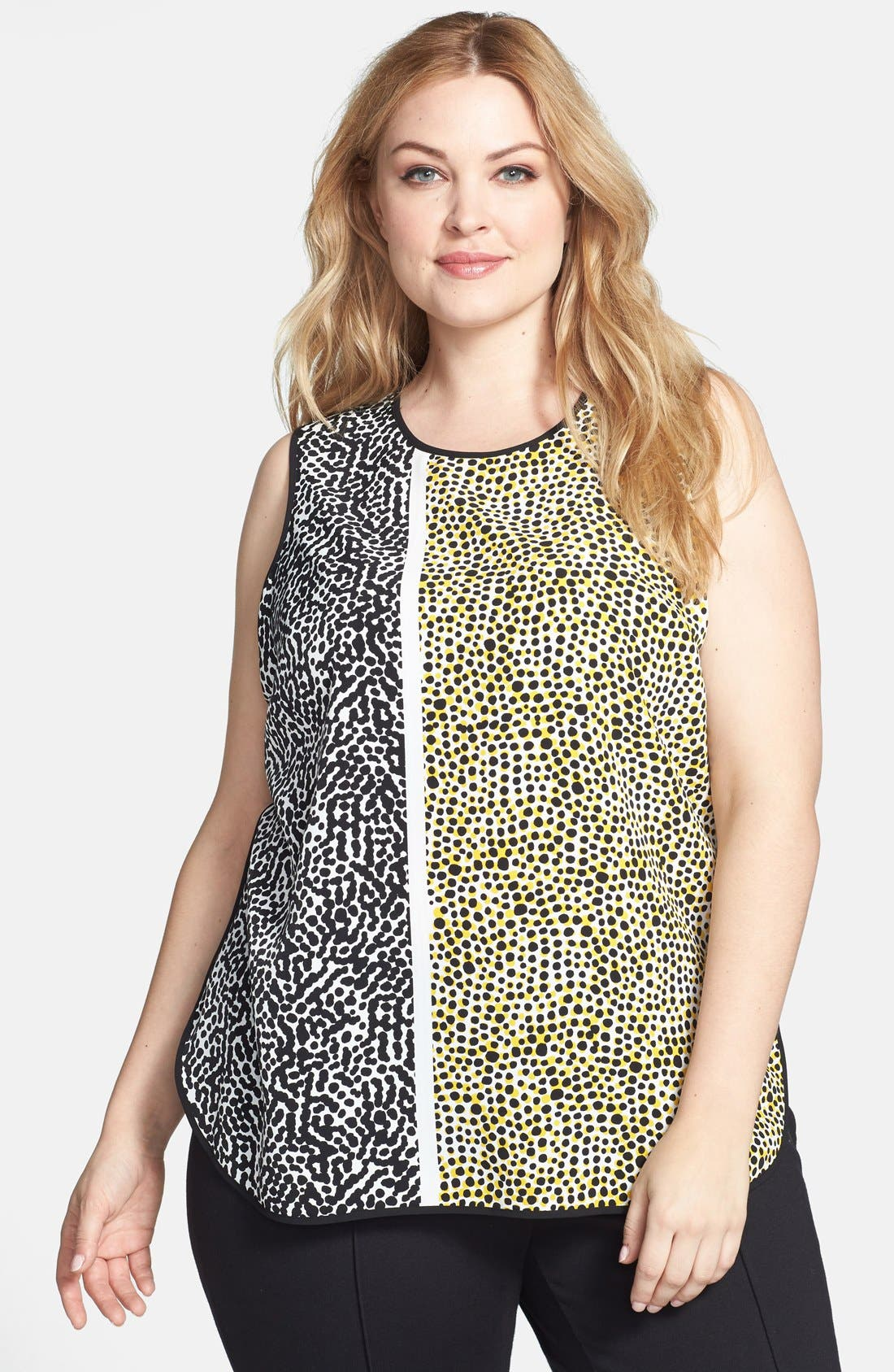 Main Image - Vince Camuto Print Sleeveless Blouse (Plus Size)