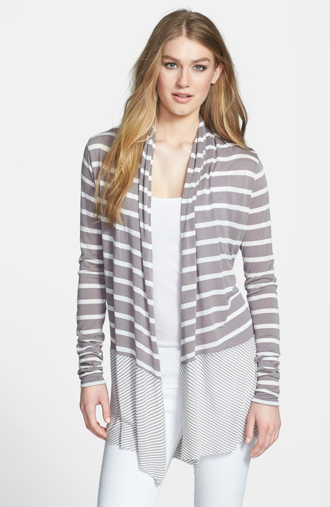 Main Image - Three Dots Mixed Stripe Cardigan