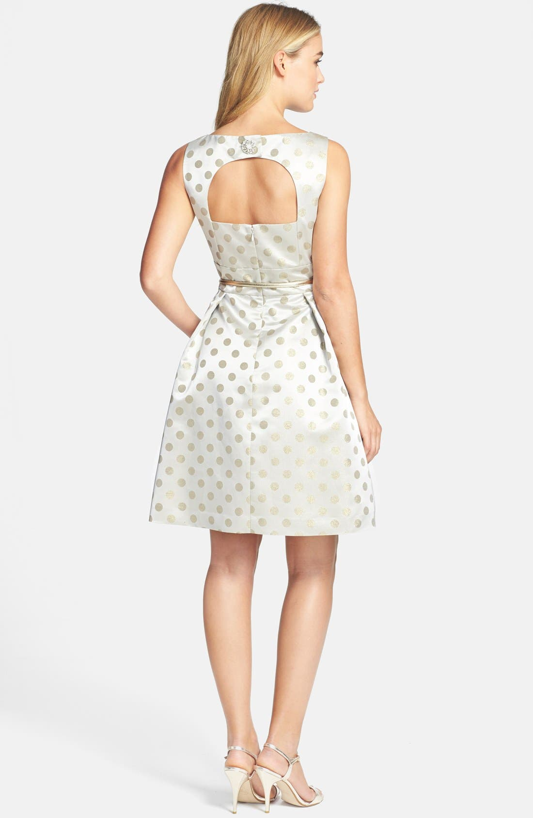 Alternate Image 3  - Eliza J Polka Dot Jacquard Fit & Flare Dress