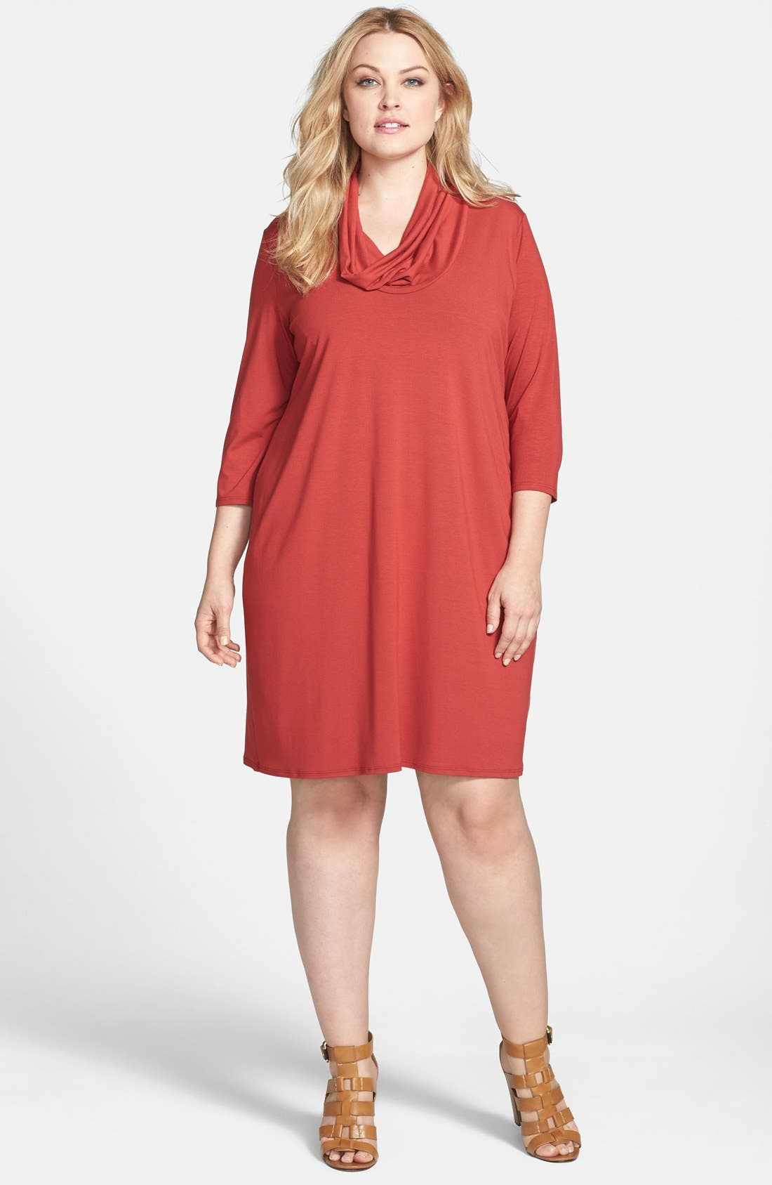 Alternate Image 1 Selected - Eileen Fisher Cowl Neck Shift Dress (Plus Size)