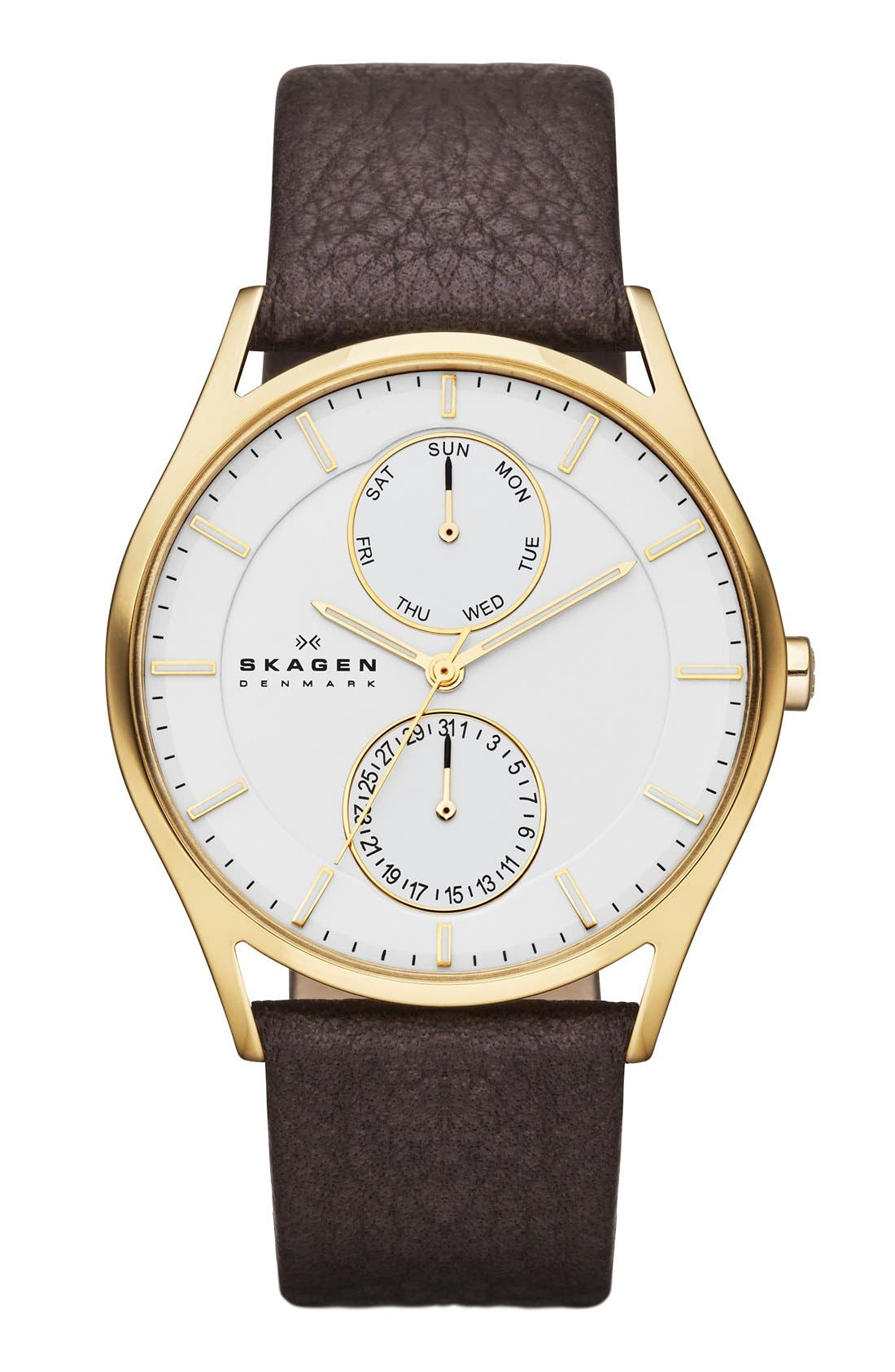 Alternate Image 1 Selected - Skagen 'Holst' Multifunction Leather Strap Watch, 40mm