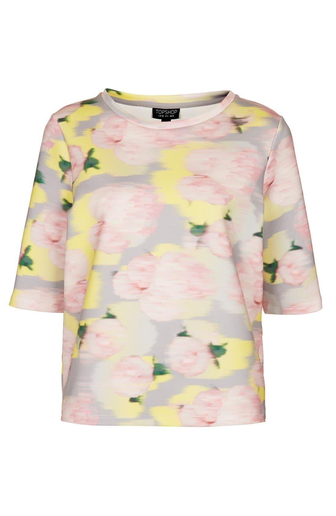 Alternate Image 3  - Topshop 'Blurred Floral' Print Scuba Top